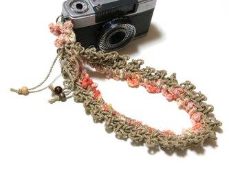 レース風麻紐ヘンプハンドカメラストラップ-オレンジ系の画像