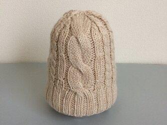 ニット帽アルパカ×ラムウール ベージュ系折り返しなしの画像