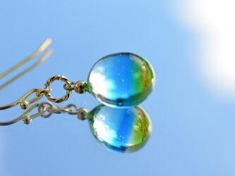 【ハンドメイドガラス】Blue sky&Rape blossoms Color Standard*ピアスの画像