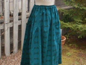 期間限定SALE!やわらかコーデュロイのふんわりフェミニンスカート(ブルーグリーン)の画像