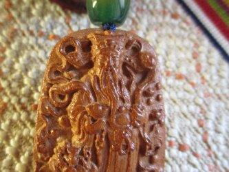 do様ご予約 富と財運の神:財神様彫り 花梨木 吉祥俵型瑪瑙 お紐仕立てストラップの画像