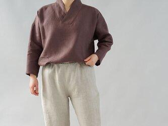 【wafu】中厚 リネントップス 禅 着物襟 ドルマンスリーブ 先染め ブラウス チュニック / 小豆色 t010b-azk2の画像
