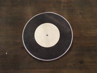 馬革 ブラック 転写プリント 7インチレコード ポーチの画像