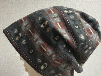 エスニック柄の綿起毛帽子の画像
