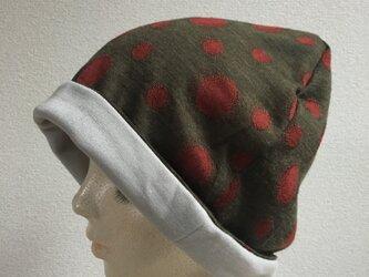 お洒落なドット模様の帽子(裏地:グレージュ)の画像