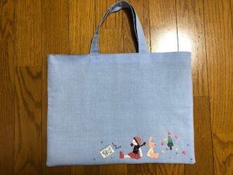 1点限定★可愛いパッチワーク刺繍のレッスンバッグの画像