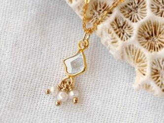 スライスダイヤモンドとパールのネックレスの画像