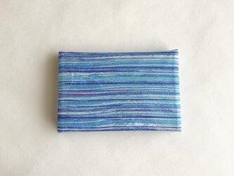 絹手染カード入れ(横・薄青水色紫)の画像
