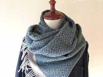 手織りオーバーショットカシミヤショール ブルーの画像