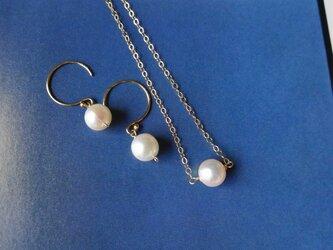 14kgf 初春 アコヤ真珠の一粒ネックレスの画像