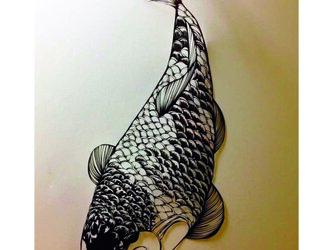 額装済み切り絵作品・錦鯉の画像