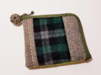 あったかウール生地の2つ折り財布 緑その2の画像