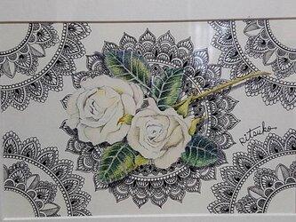 原画 肉筆 一点もの ボールペンアート 額装付き 百貨店作家 人気 ボールペン画 絵画 薔薇 バラ バラの絵 薔薇の絵の画像
