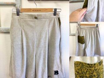 大人ベロア❤️花柄ポケットのベロアキュロットパンツ グレー(サイズ M)の画像
