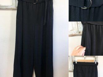 すらっとワイド❤️ベルト付きワイドロングパンツ 黒(サイズ M〜L)の画像