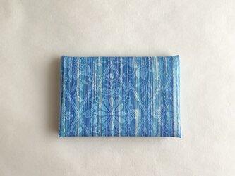 絹手染カード入れ(縦・水色青系)の画像