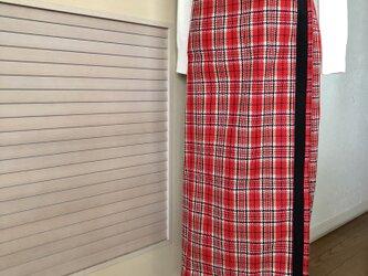 送料込・2wayチェックの巻きスカート赤・ロングタイトの画像