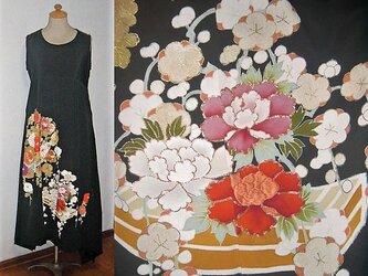 留袖リメイク♪花筏が素敵な留袖ワンピース裾変形ハンドメイド♪正絹・フォーマル・着物リメイク・冠婚の画像