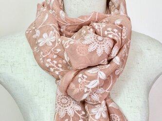 総刺繍ひば染め絹/綿 フラワーストール(サーモンピンク)の画像