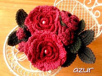 薔薇のコサージュ アンティークレッドの画像