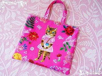 【受注製作】ナタリーレテ『Cat in pink』トートバッグの画像