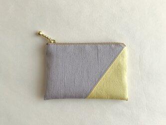絹ミニポーチ(紬継・グレー/薄黄色)の画像