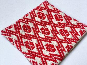 菱刺し コースター〔赤〕の画像