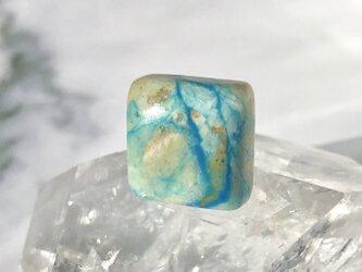 天然ブルーオパール14kgfピアス☆ペルー産原石から磨いた1点ものの画像