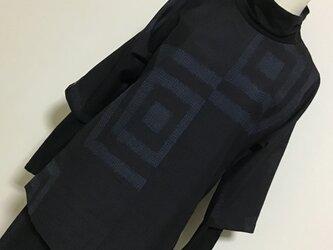 0113    着物リメイク    M寸法のチュニック    十日町紬    枡模様の画像