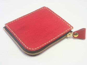 ♪レザー コンパクト 財布 小さい財布 L字ファスナーウォレット レッド・ブラック♪の画像