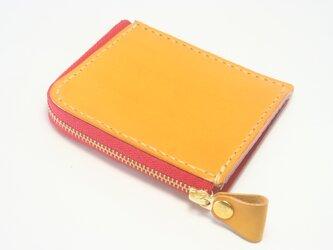 ♪レザー コンパクト 財布 小さい財布 L字ファスナーウォレット イエロー・レッド♪の画像