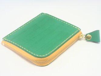 ♪レザー コンパクト 財布 小さい財布 L字ファスナーウォレット グリーン・イエロー♪の画像