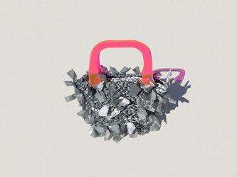 [cyane]basket bag / fabric:gray marble × handle:pink(蛍光ピンク)の画像