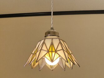 イエローダイヤ(ステンドグラスペンダントライト)吊り下げ照明・ガラス  Lサイズ・(コード長さ調節可)25 の画像
