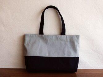 【受注製作】黒×ライトグレー 倉敷産帆布使用横長トートLの画像