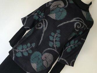 0112    着物リメイク     M寸法のチュニック    手織り紬    葵模様の画像