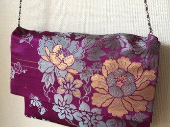 アンティーク帯牡丹文様 名古屋帯 ショルダーチェーン付きクラッチバッグの画像