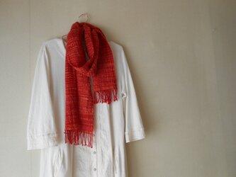 あったかマフラー 手紡ぎ手織り メリノーウール 赤の画像