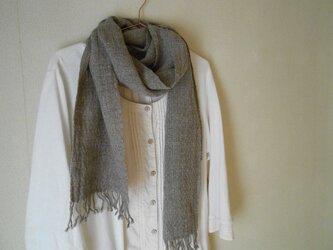 あったかマフラー 手紡ぎ手織り メリノーウール グレーの画像