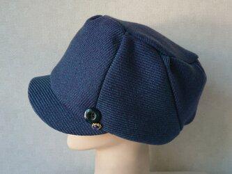 魅せる帽子☆キラリ♪飾りボタンが素敵!ウールのキャスケット~ブルーグリーンの画像