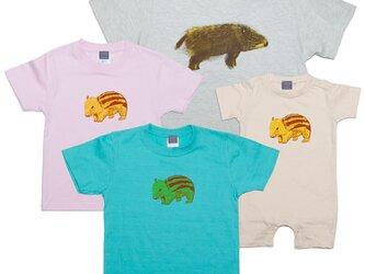 イノシシ 動物 キッズ Tシャツ (亥年)90~160cm、ベビー ロンパース 70~80cm Tcollectorの画像