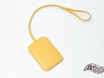 【刺繍入り】本革パスケース イエロー【日本製】の画像