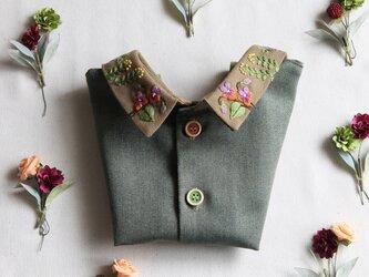 前後リバーシブルタイプのつけ襟~早春の花~の画像