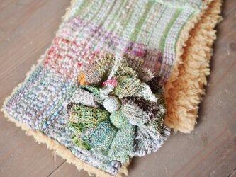 ◆SALE◆手織り コサージュ付ファーストールの画像