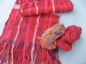 手織り マフラー カシミア ウール 柔らか MUF127A 赤 プレゼント レッドの画像