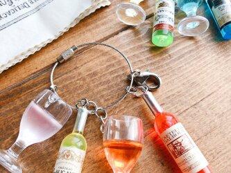 カラフルワインボトル&ワイングラスのバッグチャーム ミニチュア フェイクフード スイーツデコの画像