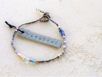 フランスアンティーク×ブルーアパタイトglassbracelet(opal) 送料無料の画像