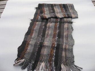 手織り マフラー グレー系 MUF108A シルク アルパカ アンゴラ キッドモヘア プレゼントの画像