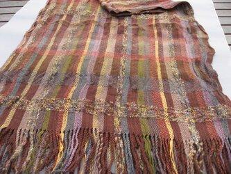 手織り 大判ショール SHA102A 茶系 チェック柄 強撚糸 シルク ウール アルパカ シック 防寒の画像