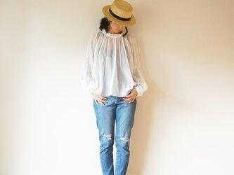 ◯予約商品◯Cotton chiffon gather blouseの画像